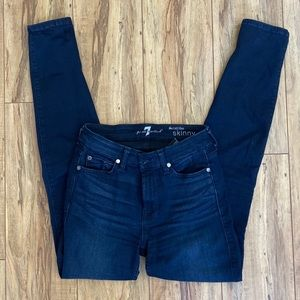 7 for All Mankind Mid Rise Skinny in Deep Indigo